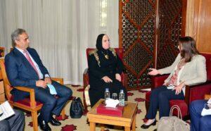 وزيرة التجارة والصناعة تبحث سبل تعزيز التعاون الاقتصادي والاستثماري المشترك مع وزيري التجارة والاقتصاد الاردني والفلسطينى